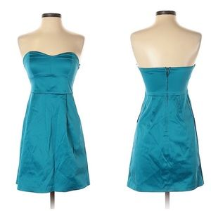 UO Silence & Noise Teal Strapless Cocktail Dress